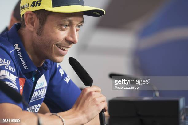Valentino Rossi of Italy and Movistar Yamaha MotoGP smiles during the prees conference at the end of the Qualifying practice during the MotoGP...