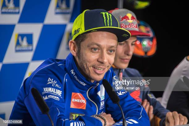 Valentino Rossi of Italy and Movistar Yamaha MotoGP speaks during the press conference during the MotoGP of Australia Previews during previews ahead...
