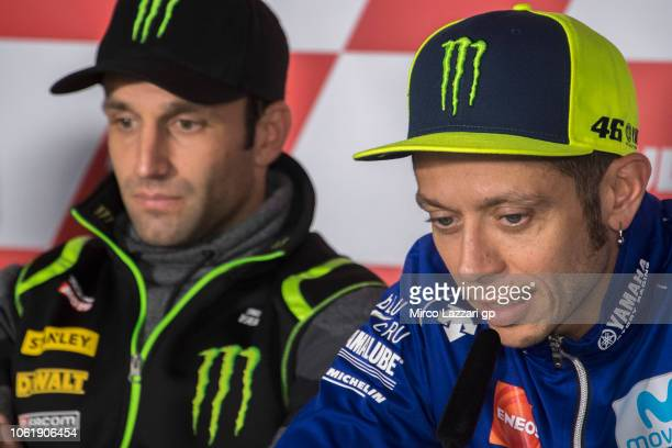 Valentino Rossi of Italy and Movistar Yamaha MotoGP speaks during the press conference preevent during the MotoGP Of Valencia Previews at Ricardo...