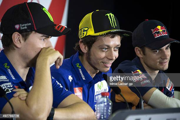 Valentino Rossi of Italy and Movistar Yamaha MotoGP speaks during the press conference ahead of the 2015 MotoGP of Australia at Phillip Island Grand...