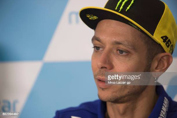 Valentino Rossi of Italy and Movistar Yamaha MotoGP speaks during the press conference at the end of the qualifying practice during the MotoGP of...