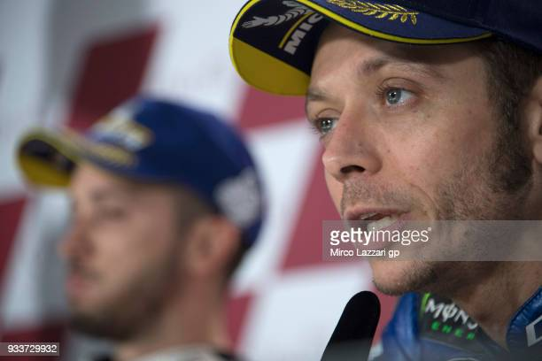 Valentino Rossi of Italy and Movistar Yamaha MotoGP speaks during the press conference at the end of the MotoGP race during the MotoGP of Qatar Race...
