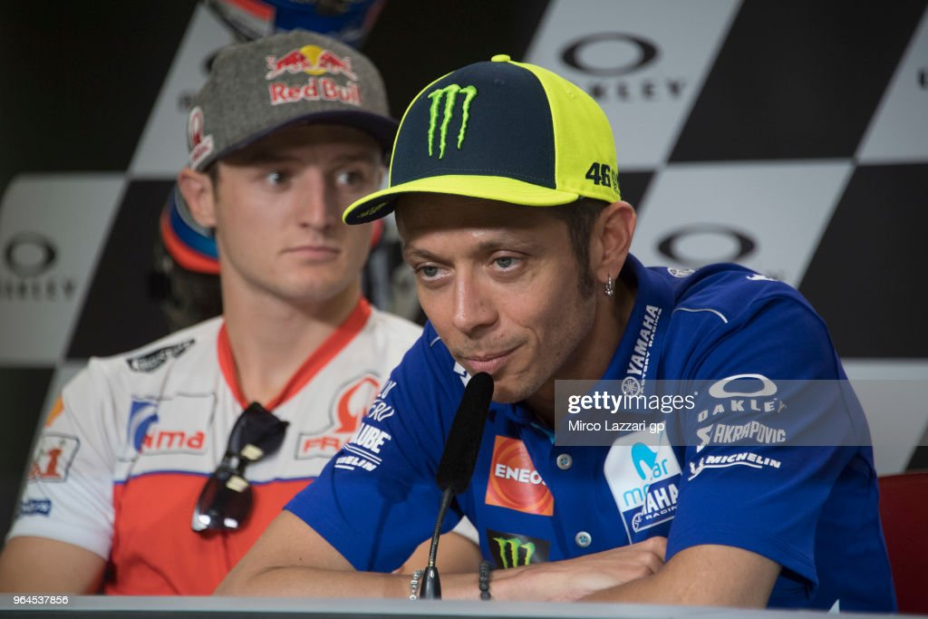 Valentino Rossi of Italy and Movistar Yamaha MotoGP speaks during the press conference pre-event during the MotoGp of Italy - Previews at Mugello Circuit on May 31, 2018 in Scarperia, Italy.