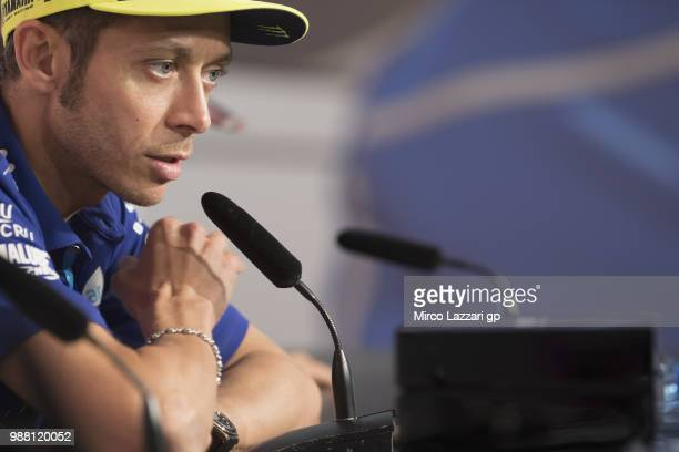 Valentino Rossi of Italy and Movistar Yamaha MotoGP speaks during the press conference at the end of the Qualifying practice during the MotoGP...