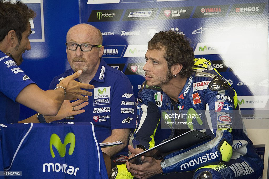 Valentino Rossi of Italy and Movistar Yamaha MotoGP speaks in box during the MotoGp Red Bull U.S. Indianapolis Grand Prix - Qualifying at Indianapolis Motor Speedway on August 8, 2015 in Indianapolis, Indiana.