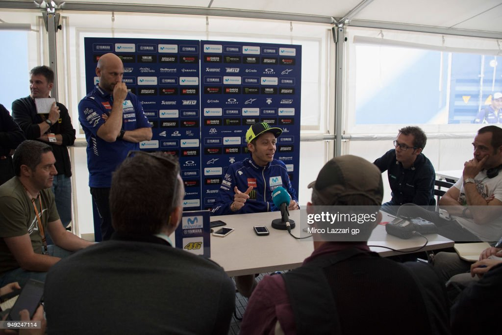 Valentino Rossi of Italy and Movistar Yamaha MotoGP speaks with journalists in hospitality during the MotoGp Red Bull U.S. Grand Prix of The Americas - Free Practice at Circuit of The Americas on April 20, 2018 in Austin, Texas.