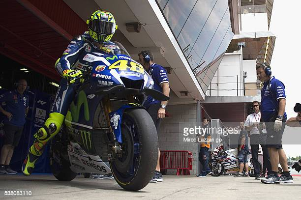 Valentino Rossi of Italy and Movistar Yamaha MotoGP starts from box during the qualifying practice during the MotoGp of Catalunya Qualifying at...