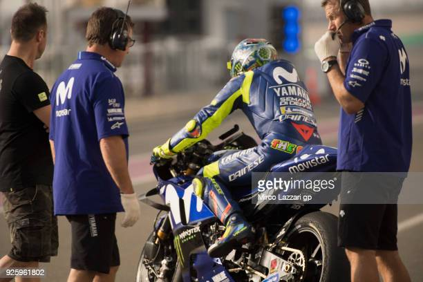 Valentino Rossi of Italy and Movistar Yamaha MotoGP starts from box during the MotoGP Testing Qatar at Losail Circuit on March 1 2018 in Doha Qatar