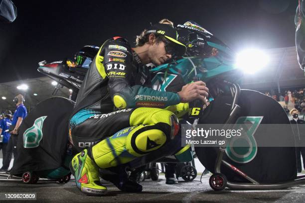 Valentino Rossi of Italy and Petronas Yamaha SR prepares to start during the MotoGP race during the MotoGP of Qatar - Race at Losail Circuit on March...