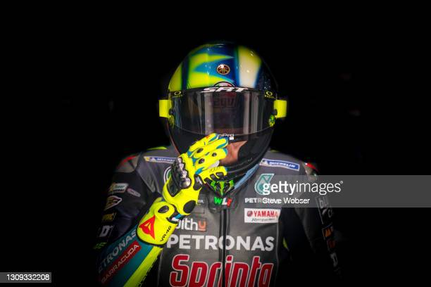 Valentino Rossi of Italy and Petronas Yamaha SRT leaves his garage and is closing his visor at Losail Circuit on March 26, 2021 in Doha, Qatar.
