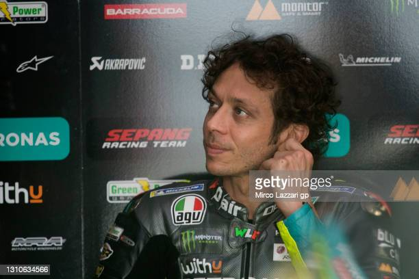 Valentino Rossi of Italy and Petronas Yamaha SRT prepares to start in box during the MotoGP of Qatar - Qualifying at Losail Circuit on April 03, 2021...