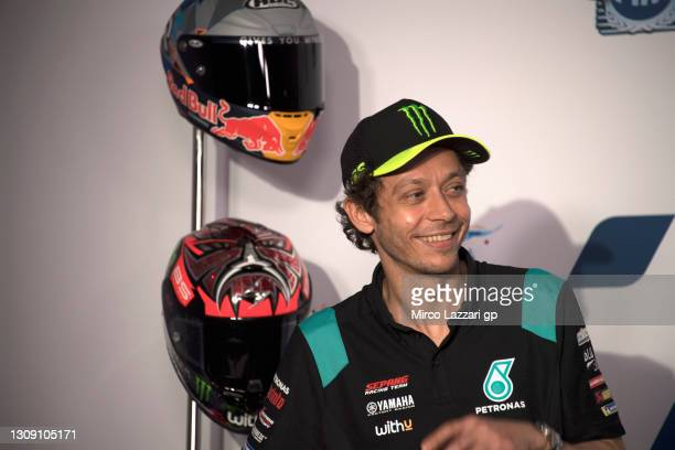 Valentino Rossi of Italy and Petronas Yamaha SRT smiles during the press conference pre-event during the MotoGP of Qatar - Previews at Losail Circuit...