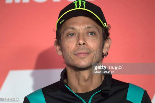 Valentino Rossi of Italy and Petronas Yamaha SRT smiles during the MotoGP press conference pre-event during the MotoGP of Netherlands - Previews at...