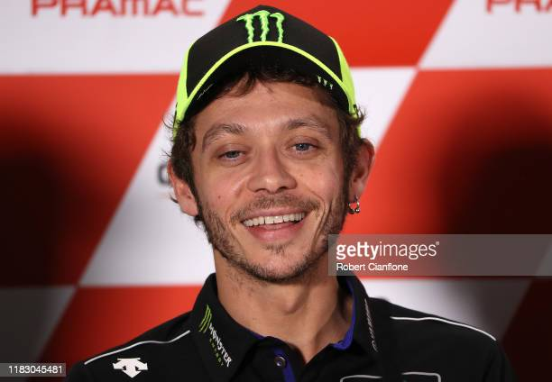 Valentino Rossi of Italy and rider of the Yamaha Factory Racing Yamaha is seen during a press conference ahead of the 2019 MotoGP of Australia at...