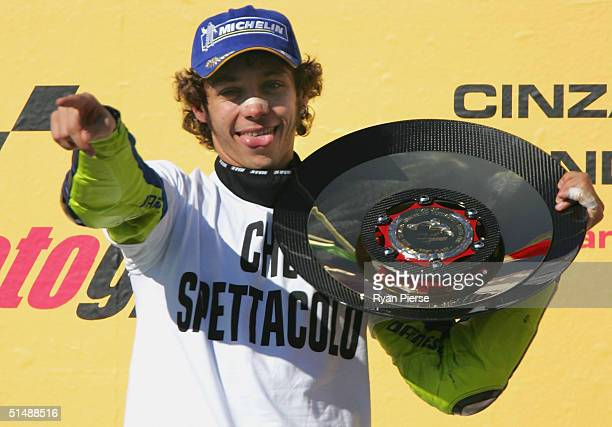 Valentino Rossi of Italy and the Gauloises Fortuna Yamaha Team celebrates after the Australian Motorcycle Grand Prix which is round fifteen of the...