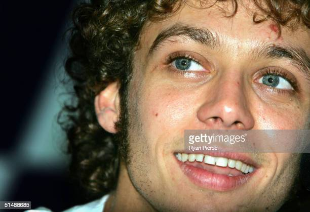 Valentino Rossi of Italy and the Gauloises Fortuna Yamaha Team speaks during a press conference after the Australian Motorcycle Grand Prix which is...
