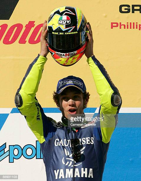 Valentino Rossi of Italy and the Gauloises Yamaha Team celebrates his win after the Australian MotoGP at the Phillip Island Circuit October 16, 2005...