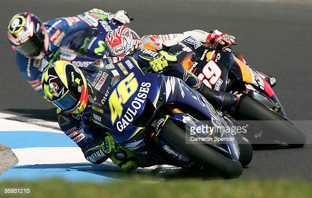 Valentino Rossi of Italy and the Gauloises Yamaha Team leads other riders during the Australian MotoGP at the Phillip Island Circuit October 16, 2005...