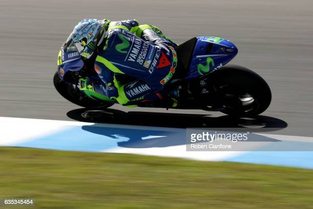 Valentino Rossi of Italy and the Movistar Yamaha MotoGp team rides during 2017 MotoGP preseason testing at Phillip Island Grand Prix Circuit on...