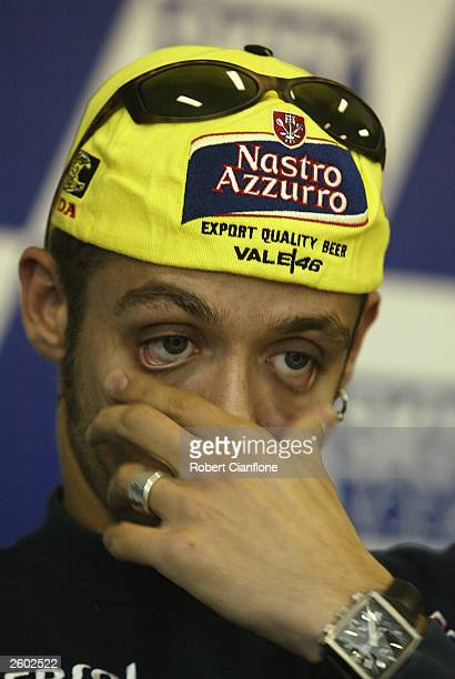 Valentino Rossi of Italy and the Repsol Honda Race Team talks to the media during a press conference in preparation for the Skyy Vodka Australian...