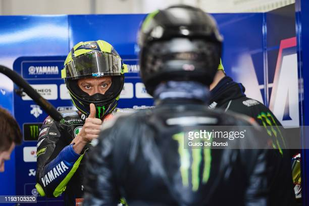 Valentino Rossi of Italy and Yamaha Factory Racing and Lewis Hamilton of Great Britain and AMG Petronas F1 Team Mercedes during the #LH44VR46 test at...