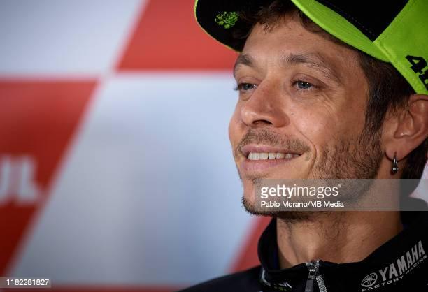 Valentino Rossi of Italy and Yamaha Factory Racing during the press conference at the MotoGP Grand Prix Motul de la Comunitat Valenciana on November...