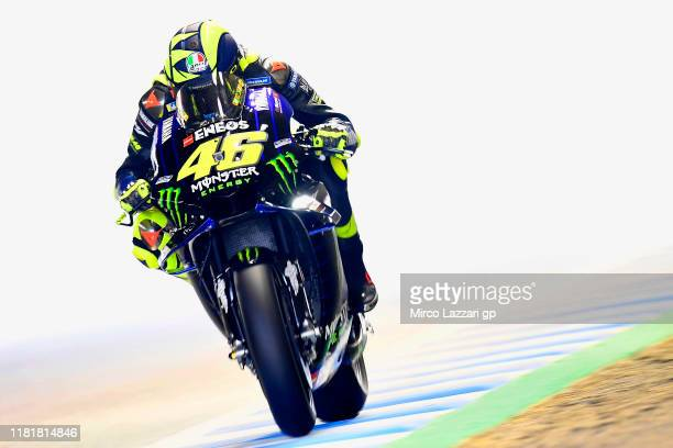 Valentino Rossi of Italy and Yamaha Factory Racing heads down a straight during the MotoGP of Japan - Free Practice at Twin Ring Motegi on October...