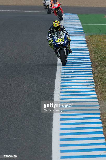Valentino Rossi of Italy and Yamaha Factory Racing leads the field during the MotoGp of Spain Free Practice at Circuito de Jerez on May 3 2013 in...