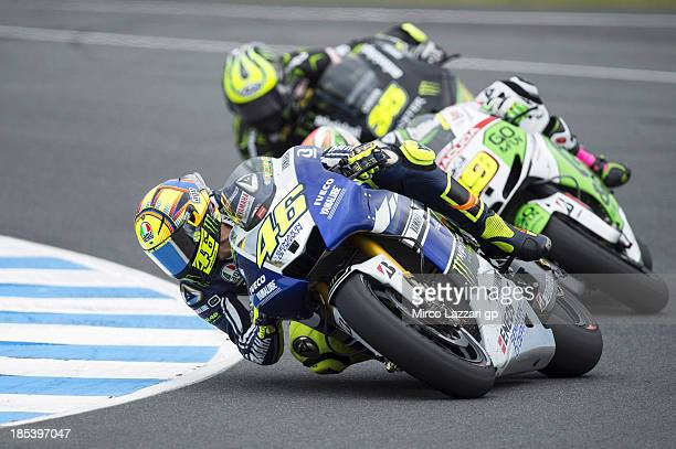 Valentino Rossi of Italy and Yamaha Factory Racing leads the field during the MotoGP race ahead of the Australian MotoGP which is round 16 of the...