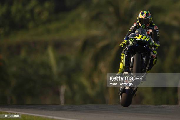 Valentino Rossi of Italy and Yamaha Factory Racing lifts the front wheel during the MotoGP Tests In Sepang at Sepang Circuit on February 07, 2019 in...