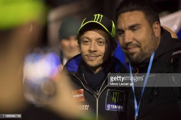 Valentino Rossi of Italy and Yamaha Factory Racing poses with fans during the pre-season MotoGP Tests in Valencia at Ricardo Tormo Circuit on...