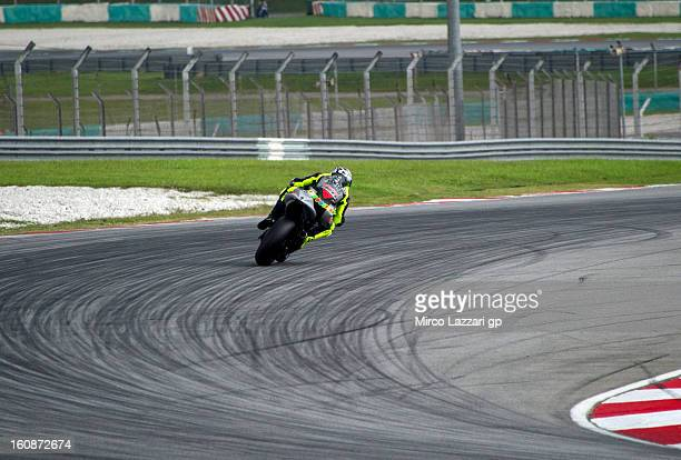 Valentino Rossi of Italy and Yamaha Factory Racing rounds the bend during the MotoGP Tests in Sepang Day Five at Sepang Circuit on February 7 2013 in...