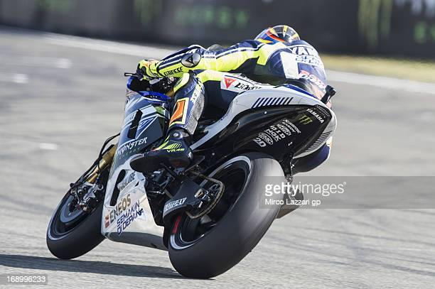 Valentino Rossi of Italy and Yamaha Factory Racing rounds the bend during the qualifying practice of the MotoGp Of France Qualifying on May 18 2013...