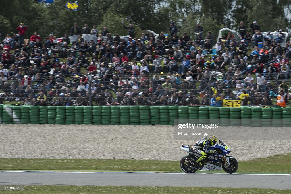 Valentino Rossi of Italy and Yamaha Factory Racing rounds the bend during the MotoGP race during the MotoGp Of Holland - Race at TT Circuit Assen on June 29, 2013 in Assen, Netherlands.