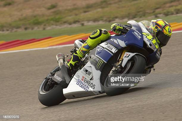 Valentino Rossi of Italy and Yamaha Factory Racing rounds the bend during the MotoGP race during the MotoGP of Spain Race at Motorland Aragon Circuit...