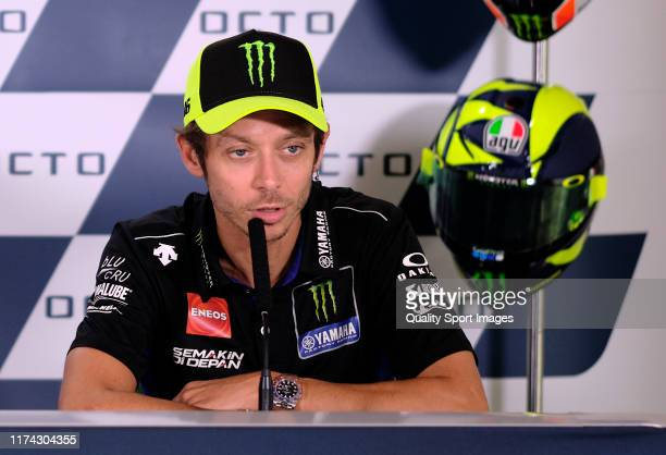Valentino Rossi of Italy and Yamaha Factory Racing speaks during the pre-event press conference ahead of the MotoGp of San Marino at Misano World...