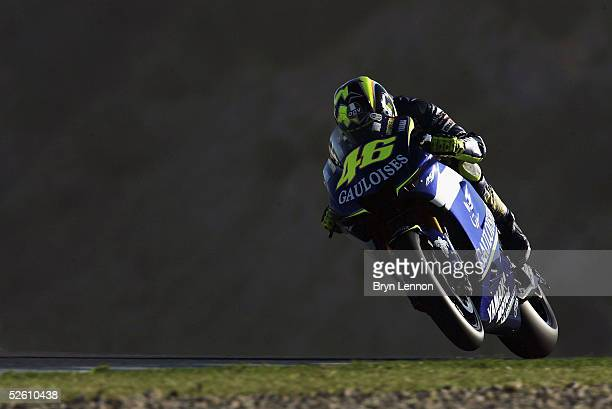 Valentino Rossi of Italy and Yamaha in action during the warm up for the Spanish MotoGP at the Circuito de Jerez on April 10, 2005 in Jerez, Spain.