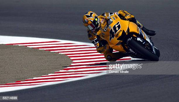 Valentino Rossi of Italy drives on track during the practice session for the 2005 Red Bull US Grand Prix part of the MotoGP World Championships on...