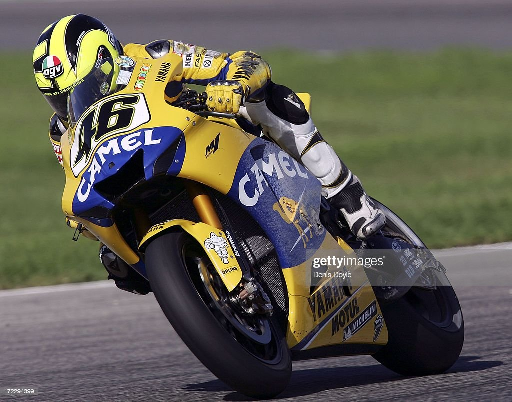 Valentino Rossi of Italy in action after he crashed in the MotoGP race in the Ricardo Torma racetrack on October 29, 2006 in Valencia, Spain.
