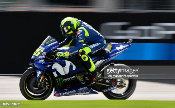 Valentino Rossi of Italy on his Movistar Yamaha during the qualifying session for Sundays race at Silverstone Circuit on August 25 2018 in...