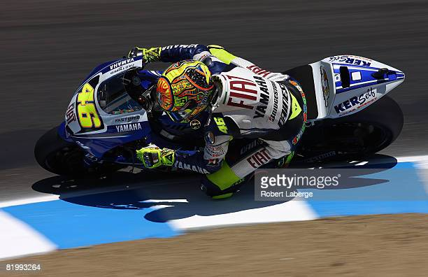 Valentino Rossi of Italy rides his Fiat Yamaha during practice for the Moto GP Red Bull U S Grand Prix at the Mazda Raceway Laguna Seca on July 18...