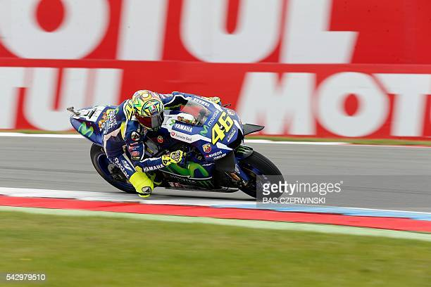 Valentino Rossi of Italy rides his Yamaha during the MotoGP qualifying on the circuit of the TT Assen on June 25 2016 in Assen / AFP / ANP / Bas...