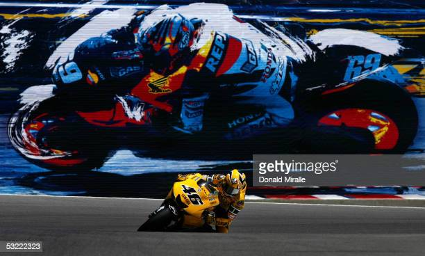Valentino Rossi of Italy rides his Yamaha Factory Racing during the 2005 Red Bull U.S. Grand Prix, part of the MotoGP World Championships, at Mazda...