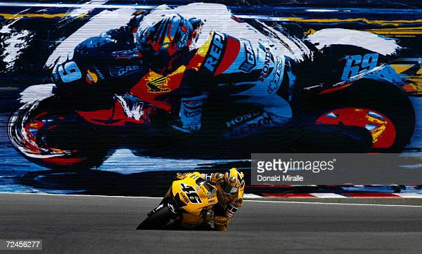 Valentino Rossi of Italy rides his Yamaha Factory Racing during the 2005 Red Bull US Grand Prix part of the MotoGP World Championships at Mazda...