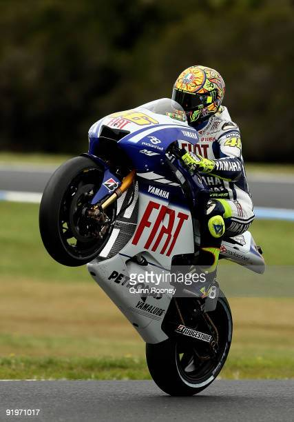 Valentino Rossi of Italy rides the Fiat Yamaha Team Yamaha during the warm up session prior to the Australian MotoGP which is round 15 of the MotoGP...