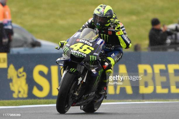 Valentino Rossi of Italy rides the Monster Energy Yamaha MotoGP bike during practice for the Australian MotoGP at the Phillip Island Grand Prix...