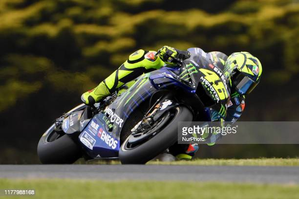 Valentino Rossi of Italy rides the Monster Energy Yamaha MotoGP bike during the tyre test session ahead of the Australian MotoGP at the Phillip...