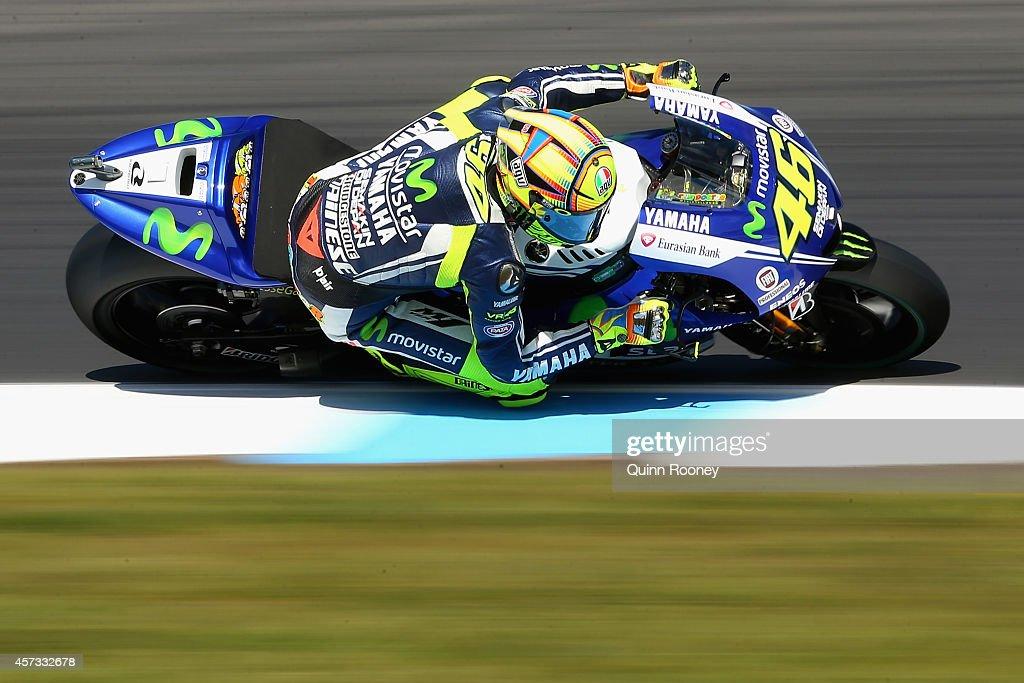 Valentino Rossi of Italy rides the #46 Movistar Yamaha MotoGp Yamaha during free practice for the 2014 MotoGP of Australia at Phillip Island Grand Prix Circuit on October 17, 2014 in Phillip Island, Australia.