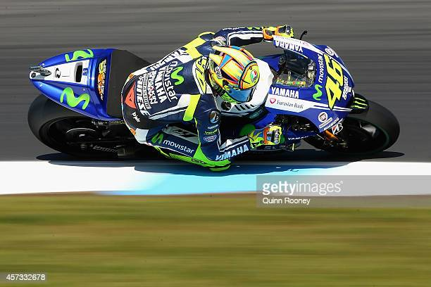 Valentino Rossi of Italy rides the Movistar Yamaha MotoGp Yamaha during free practice for the 2014 MotoGP of Australia at Phillip Island Grand Prix...