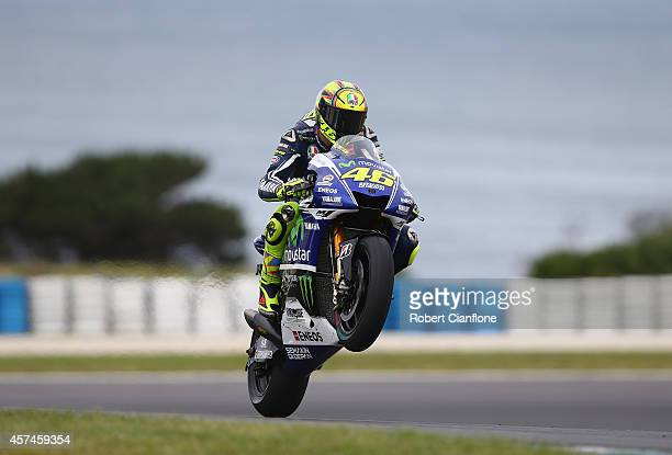 Valentino Rossi of Italy rides the Movistar Yamaha MotoGp Yamaha during the warm up session for the 2014 MotoGP of Australia at Phillip Island Grand...